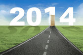 The way to the door of new year 2014 — Stock Photo