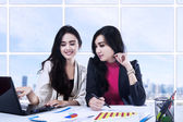 Two businesswoman having a meeting — Stock Photo