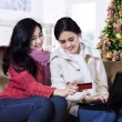 Happy two woman shopping online — Stock Photo