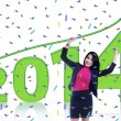 Happy businesswoman celebrating a new year — Photo