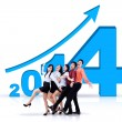 Successful business team with new year 2014 — Stockfoto