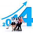 Successful business team with new year 2014 — Stock fotografie