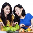 Two friend prepare salad — Stock Photo