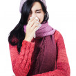 Ill Woman With Flu Sneezing — Stock Photo
