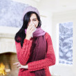 Pretty Girl Has Flu And Fever — Stock Photo
