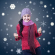 Young Winter Girl Winning — Stock Photo