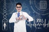 Médico muestra muestra del corazón — Foto de Stock