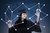 Beautiful graduate with social network concept — Stock Photo