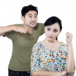 图库照片: Couple in quarrel