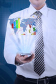 Business man shows financial report — Foto Stock