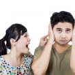 Unhappy woman screaming to her boyfriend — Stockfoto