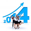 Business team celebrating success in new year 2014 — Stock Photo