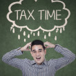 Worried businessman thinking tax time — Stock Photo