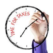 Hand skriva tid för skatter — Stockfoto