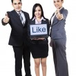 Businesspeople showing like on laptop — Stock Photo