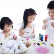 Children Coloring Easter Eggs — Stock Photo