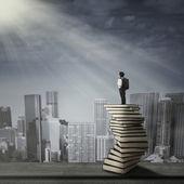 Bambino in piedi su una pila di libri — Foto Stock