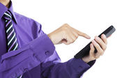 Businessman touch smart phone in hand — Stock Photo