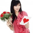Young romantic girl with Valentines card — Stock Photo
