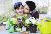 Asian couple gardening — Stock Photo
