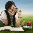 Female student at the park — Stock Photo