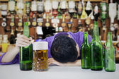 Drunk man with beer — Stock Photo
