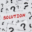 Solution and question marks — Stock Photo #40941717