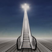 Staircase towards the cross — Stock Photo