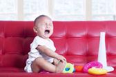 Baby girl crying — Stock Photo
