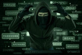 Hacker looking for internet information — Stock Photo