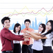 Business team overlapping hands — Foto de Stock