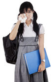 Female student is crying — Stock Photo