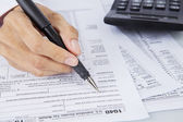 Filling out income tax forms — Stockfoto