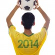 Brazilian player throwing the ball — Stock Photo #43587579