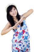 Giocosa attraente giovane donna — Foto Stock