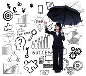 Предприниматель, написание бизнес-стратегии — Стоковое фото