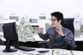 Expression of businessman surprised — Stock Photo