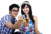 Happy couple with glasses of champagne — Stock Photo