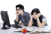 Students bored isolated — Stock Photo