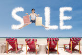 Advertising sale clouds — Stock Photo
