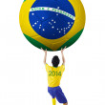 Постер, плакат: Soccer player lifting a big soccer ball