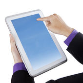 Businessman touching blue screen digital tablet — Stock Photo