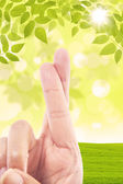 Cross finger gesture on green field background — Stock Photo