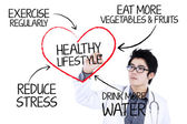 Doctor writing healthy lifestyle concept — Stock Photo