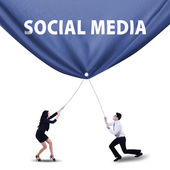 Teamwork pulling social media banner — Stock Photo