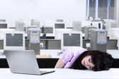 Asian businesswoman sleeping at office — Stock Photo