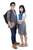 Asian couple students isolated — Stock Photo