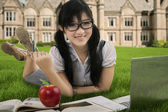 Attractive student studying outdoors 1 — Stock Photo