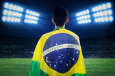 Brazilian fans looking at soccer field — Stock Photo