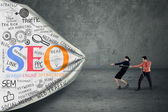 Strategia di business con il concetto di seo — Foto Stock